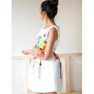 Casual Colorful Print Round Neck Women's Dress -