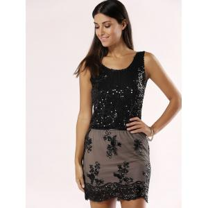 Sequined Laciness Mesh Splicing Skirt -