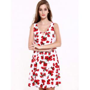 Stunning V-Neck Backless Floral Dress For Women - RED WITH WHITE 2XL