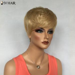 Dynamic Short Boy Cut Siv Hair Capless Fluffy Straight Layered Human Hair Wig For Women -