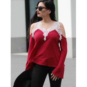 Trendy V-Neck Long Sleeve Cut Out Spliced Women's T-Shirt -