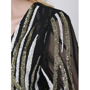 Ornate Sequined V Neck Bodycon Dress With Sleeves - BLACK 2XL