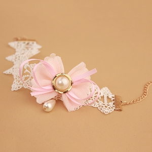 Sweet White Lace Bowknot Faux Pearl Decorative Anklet For Women -