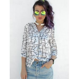 Casual V-Neck 3/4 Sleeves Printed Blouse For Women -