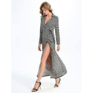 Maxi Print Slit Wrap Dress with Long Sleeves - WHITE AND BLACK XL