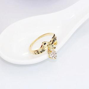 Rhinestone Heart Bowknot Ring - GOLDEN ONE-SIZE
