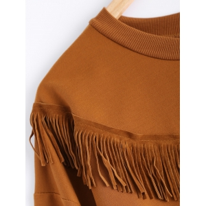Round Neck Long Sleeve Fringed Sweatshirt -