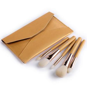 Stylish 5 Pcs Artificial Fiber Face Eye Makeup Brushes Set with Storage Package -