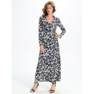 Maxi Floral Print Slit Long Sleeve Wrap Swing Dress -