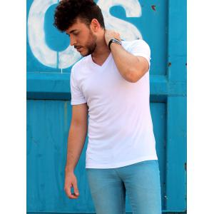 Leisure Slimming V-Neck Solid Color Short T-Shirt For Men -