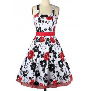 Halter Neck Bowknot Floral Cocktail Dress -