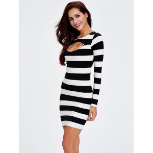 Front Cut Out Tight Long Sleeve Stripe Bodycon Dress -