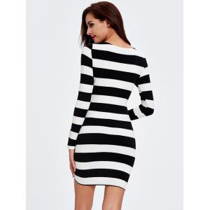 Front Cut Out Long Sleeve Stripe Bodycon Dress -