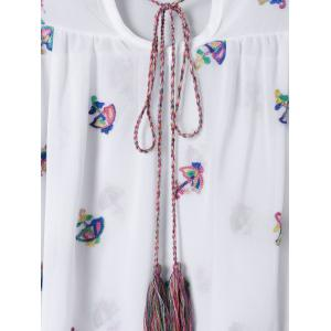 Stylish Embroidered Tie Neck Blouse For Women -