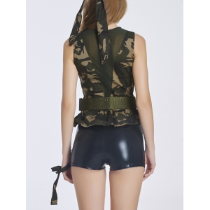 Chic Women's Camo Spliced Military Costume - CAMOUFLAGE XL