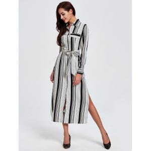 OL Vertical Stripe Belted Shirt Dress - STRIPE 2XL