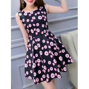 Chic Print High Waist Sleeveless Dress -