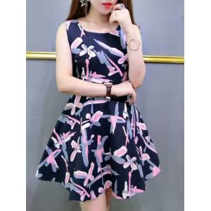 Chic Colorful Print High Waist Sleeveless Dress -