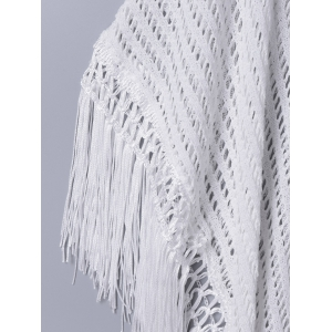 Sweet Hollow Out Fringed Blouse -