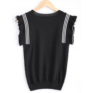 Scoop Neck Flare Sleeve Knit T-Shirt -