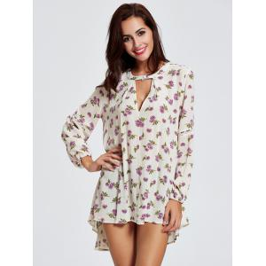 Keyhole Floral Bohemian Tunic Dress -