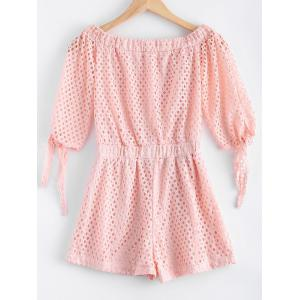 Sweet Off-The-Shoulder Openwork Knot Tunic Short Sleeve Romper For Women -