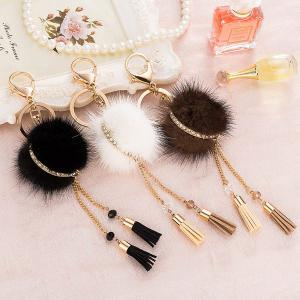 Bag Keychain Faux Fur Ball Two Tassel Keyring -