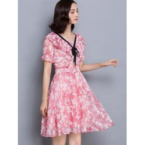 Sweet Flounce Floral Print Slimming Women's Dress -