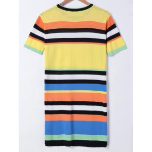 Casual Colorful Striped T-Shirt Dress -