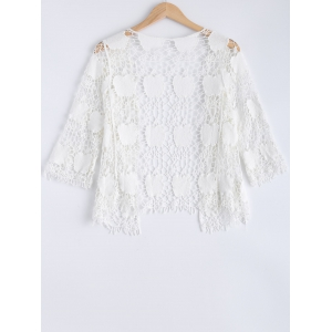 Crochet Embroidery Short Sleeve Cover-Up -