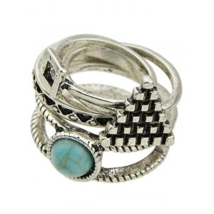 Faux Turquoise Geometric Rings -
