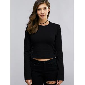 Fashion Round Neck Long Sleeve Lace Up Cropped Sweatshirt For Women -