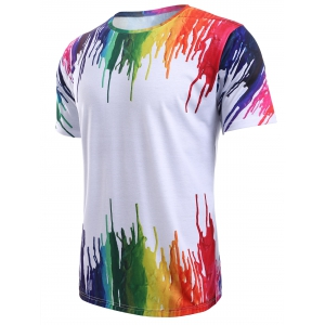 3D Colorful Splatter Paint Round Neck T-Shirt - WHITE 2XL