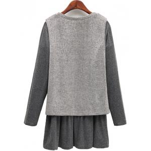 Casual Knitted Tank Top + Long Sleeve Dress Plus Size Twinset - LIGHT GRAY 5XL