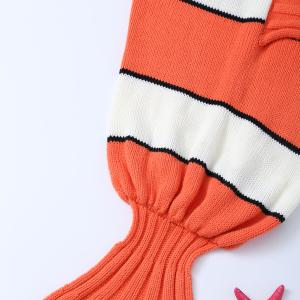 Stripe Cartoon Knitted Clownfish Blanket and Throws For Kids - ORANGE / WHITE