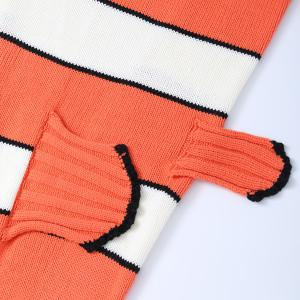 Stripe Cartoon Knitted Clownfish Blanket and Throws For Kids -