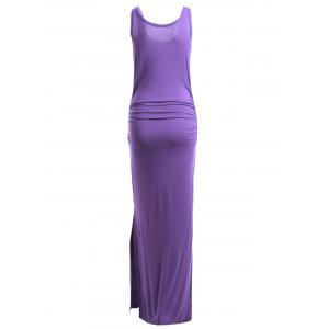 Simple Pure Color Slit Sleeveless Slimming Maxi Dress -