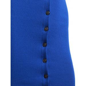 Button Up Sweater Tank Bodycon Dress - SAPPHIRE BLUE ONE SIZE
