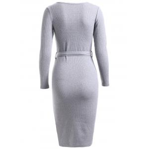 Simple Belted Pure Color Knitted Sheath Dress -