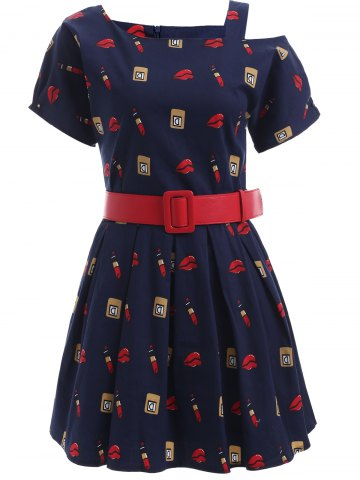Cheap Cute Pattern Hollow Out Belted Dress