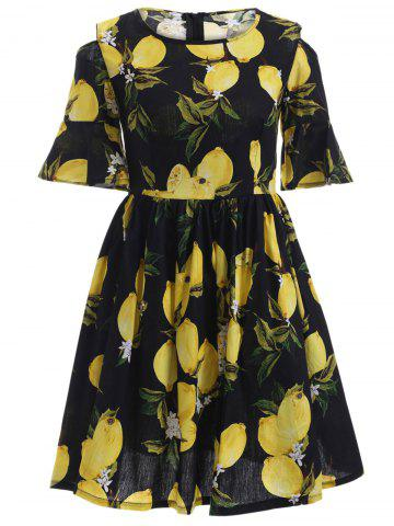 Cheap Cold Shoulder Lemon Print Dress