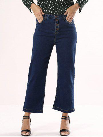 Unique High Waisted Cropped Flare Jeans DENIM BLUE XL