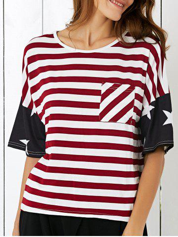 Discount Single Pocket American Flag T-Shirt BLACK AND WHITE AND RED XL