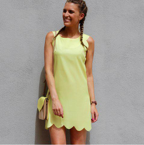 Unique Sweet Round Collar Candy Color Summer Dress For Women - S YELLOW Mobile