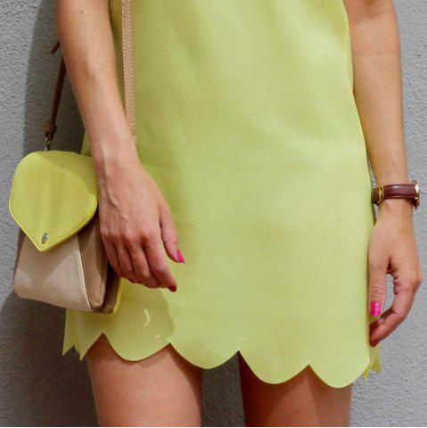 Outfits Sweet Round Collar Candy Color Summer Dress For Women - S YELLOW Mobile
