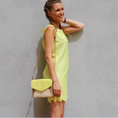 Best Sweet Round Collar Candy Color Summer Dress For Women - S YELLOW Mobile