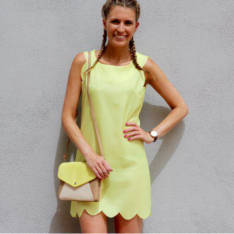 Shop Sweet Round Collar Candy Color Summer Dress For Women - S YELLOW Mobile