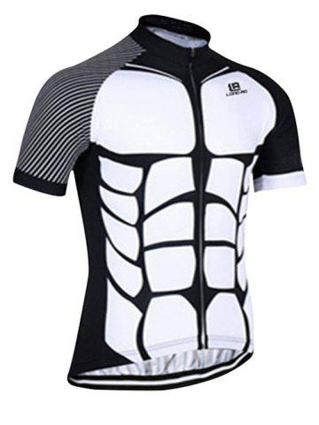 Affordable Active Spliced Bibshort + Short Sleeve Bike Jerseys Twinset For Men - L WHITE AND BLACK Mobile