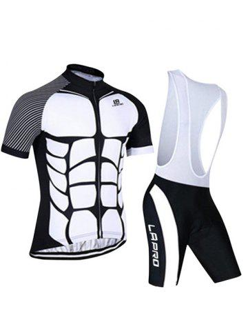 Affordable Active Spliced Bibshort + Short Sleeve Bike Jerseys Twinset For Men - M WHITE AND BLACK Mobile