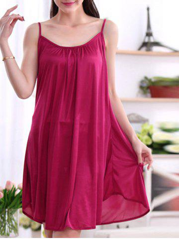 Cheap Alluring Pure Color Spaghetti Strap Backless Babydoll For Women - 3XL CLARET Mobile